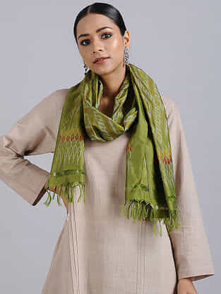Green Handwoven Ikat Silk Stole