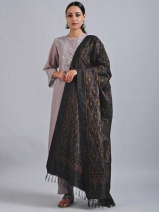 Black-Yellow Handwoven Ikat Silk Dupatta