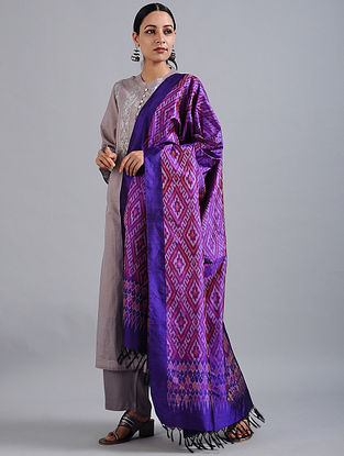 Purple Handwoven Ikat Silk Dupatta