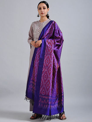 Purple Handwoven Ikat Silk Dupatta