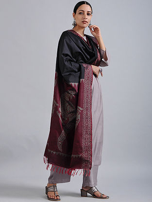 Black-Maroon Handwoven Ikat Silk Dupatta