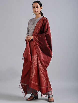 Red Handwoven Ikat Silk Dupatta