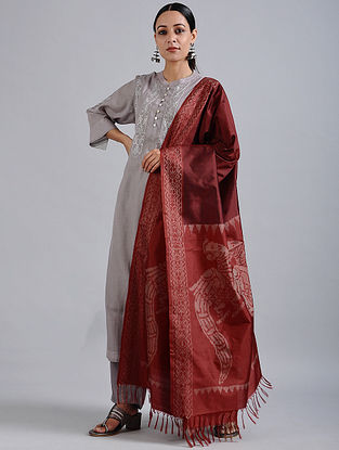 Red Handwoven Ikat Silk Dupatta