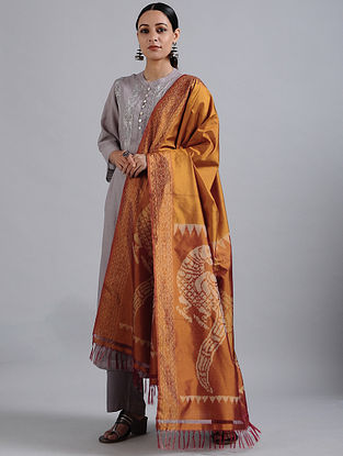 Brown Handwoven Ikat Silk Dupatta