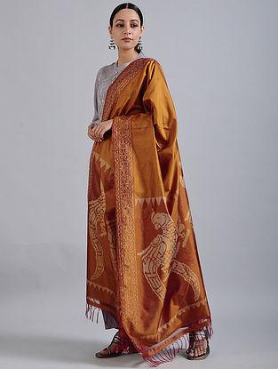 Brown Handwoven Ikat Silk Dupatta