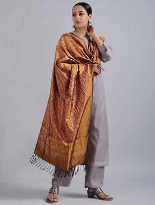 Brown-Ivory Handwoven Ikat Silk Dupatta