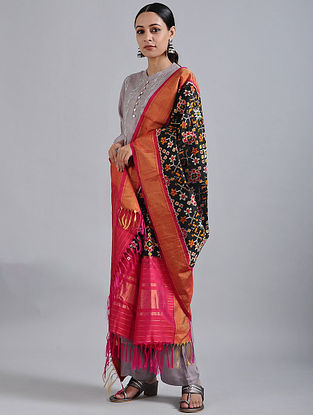 Black-Pink Handwoven Ikat Silk Dupatta with Tissue Border