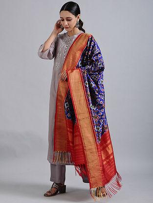 Purple-Red Handwoven Ikat Silk Dupatta with Tissue Border