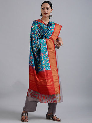 Blue-Red Handwoven Ikat Silk Dupatta with Tissue Border