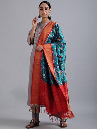 Blue-Red Handwoven Ikat Silk Dupatta with Tissue Border