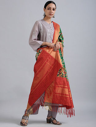 Green-Red Handwoven Ikat Silk Dupatta with Tissue Border