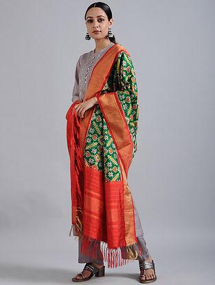 Green-Red Handwoven Ikat Silk Dupatta with Tissue Border