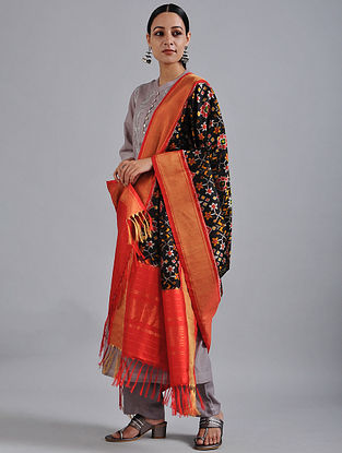 Black-Red Handwoven Ikat Silk Dupatta with Tissue Border