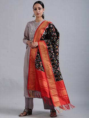 Black-Red Handwoven Ikat Silk Dupatta with Tissue Border