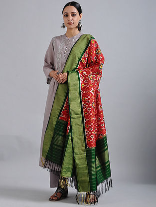 Red-Green Handwoven Ikat Silk Dupatta with Tissue Border
