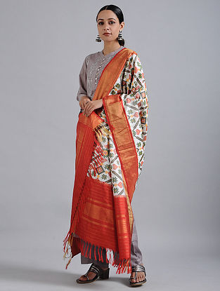 Ivory-Red Handwoven Ikat Silk Dupatta with Tissue Border