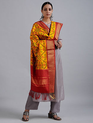 Yellow-Red Handwoven Ikat Silk Dupatta with Tissue Border