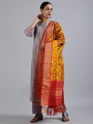 Yellow-Red Handwoven Ikat Silk Dupatta with Tissue Border