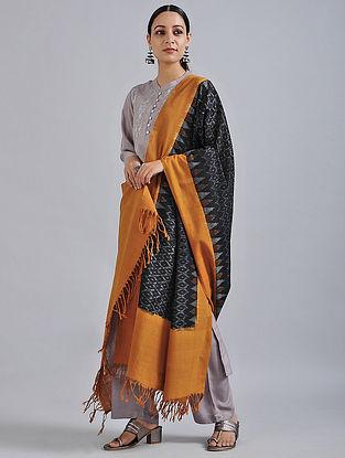 Black-Orange Handwoven Missing Ikat Cotton Dupatta