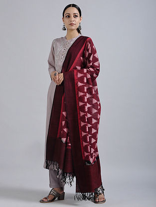 Red-Ivory Handwoven Missing Ikat Cotton Dupatta