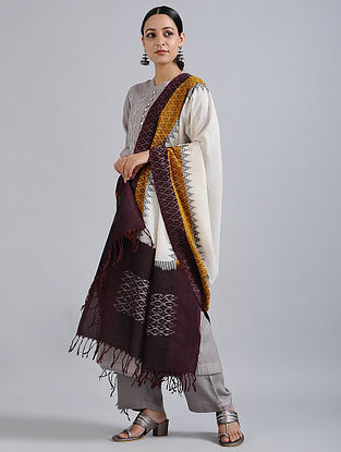 Ivory-Maroon Handwoven Missing Ikat Cotton Dupatta