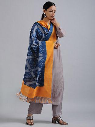 Blue-Orange Handwoven Ikat Cotton Dupatta