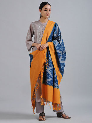 Blue-Orange Handwoven Ikat Cotton Dupatta