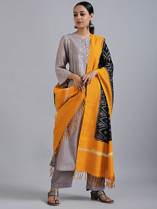 Black-Yellow Handwoven Ikat Cotton Dupatta