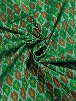 Green-Brown Hanwoven Ikat Silk Cotton Fabric