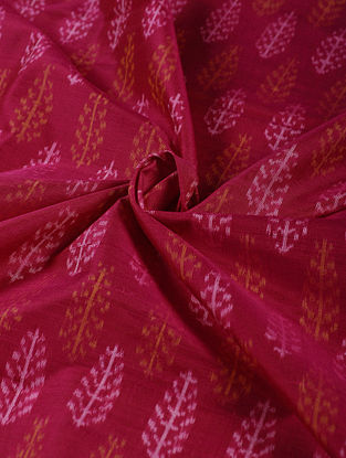 Red-Ivory Hanwoven Ikat Silk Cotton Fabric