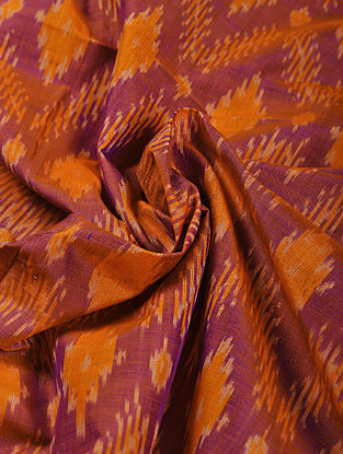 Purple-Orange Handwoven Ikat Silk Cotton Fabric