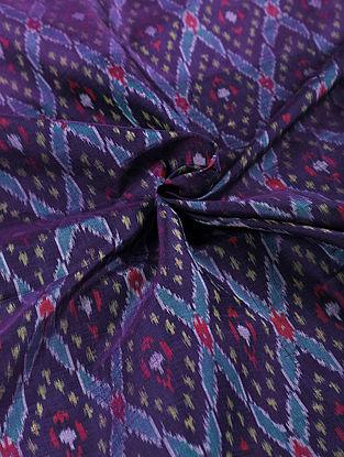 Blue Handwoven Ikat Silk Cotton Fabric