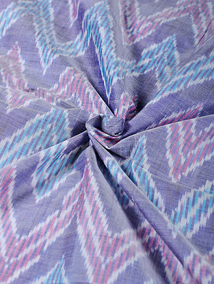 Blue-Pink Handwoven Ikat Silk Cotton Fabric