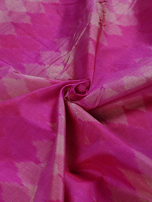 Pink-Beige Handwoven Ikat Silk Cotton Fabric