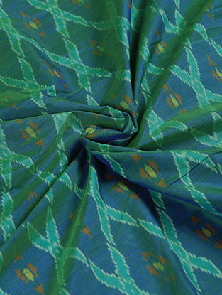 Blue-Green Handwoven Ikat Silk Cotton Fabric