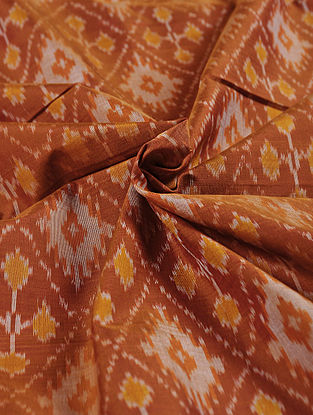 Brown-Ivory Handwoven Ikat Silk Cotton Fabric