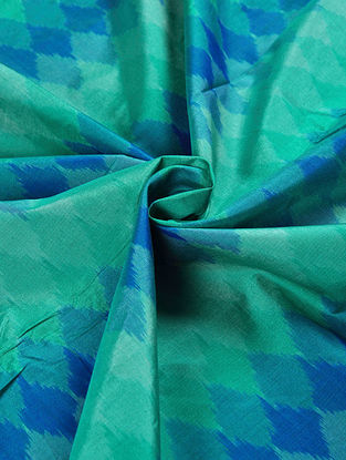 Green-Blue Handwoven Ikat Silk Cotton Fabric