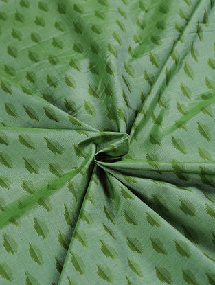 Green Handwoven Ikat Silk Cotton Fabric