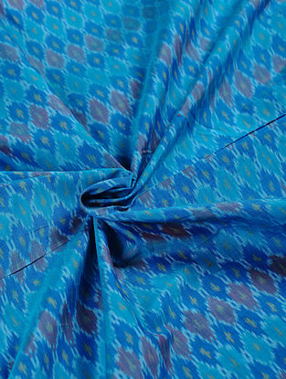 Blue Handwoven Ikat Silk Cotton Fabric