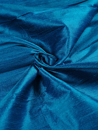 Blue Handwoven Raw Silk Fabric