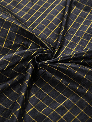 Black Handwoven Raw Silk Fabric with Zari