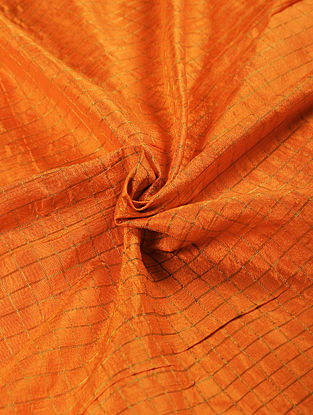 Orange Handwoven Raw Silk Fabric with Zari
