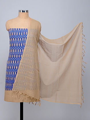 Blue-Beige Handwoven Ikat Cotton Fabric (Set of 3)
