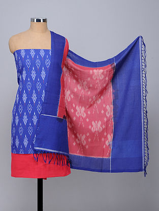 Blue-Pink Handwoven Ikat Cotton Fabric (Set of 3)