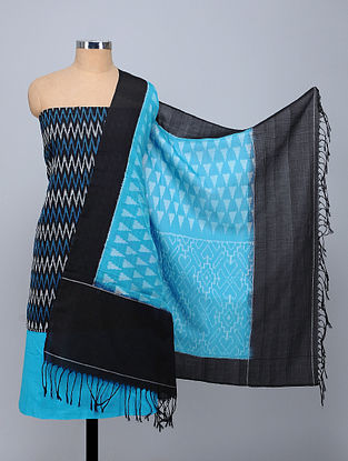 Blue-Black Handwoven Ikat Cotton Fabric (Set of 3)