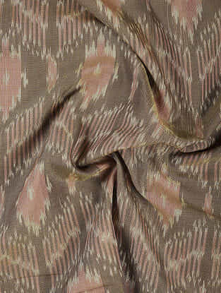 Brown Handloom Ikat Cotton Fabric
