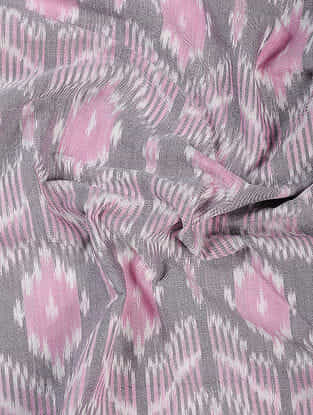 Grey-Pink Handloom Ikat Cotton Fabric