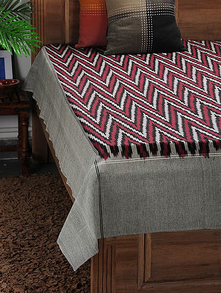 Maroon-Grey Ikat Cotton Double Bedcover ( 105in x 90in)