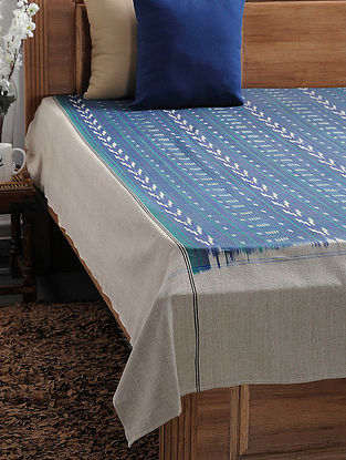 Green and Beige Ikat Cotton Double Bedcover (108in x 89in)