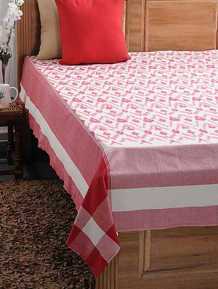 Red and Beige Ikat Cotton Double Bedcover (108in x 90in)